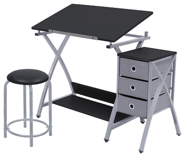 Offex Home Office 3-Piece Comet Center Set  With Stool , Silver/black.