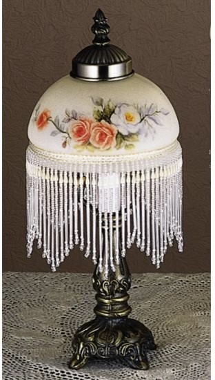Meyda Tiffany Floral Fringe Mini Tiffany Lamp X 19112 Traditional Table  Lamps