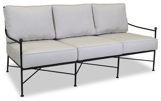Provence Sofa With Cushions, Canvas Flax Contemporary Outdoor Sofas