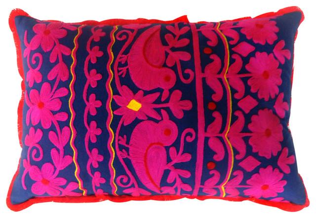 Navy And Pink Decorative Pillows: Vintage-Style Rabari Lumbar Pillow, Navy/Pink/Red