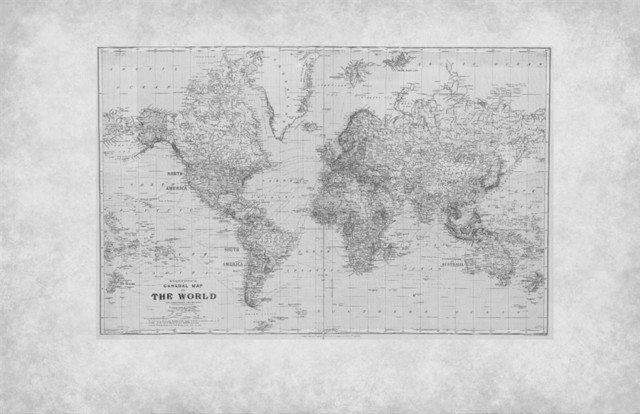 Vintage world map mural m9172 traditional wall decals for Black and white world map mural