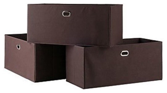 Torino 3 Piece Set Folding Bookcase With Fabric Basket Contemporary Storage Bins And Boxes By Bentley Marketing