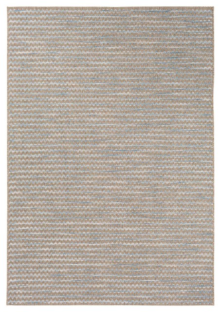 Ruthie Coastal Modern Blue Zigzag Outdoor Rug, 7&x27;11x10&x27;10.
