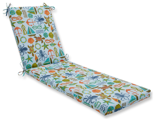 Seapoint Blue Summer Oversized Chaise Cushion.