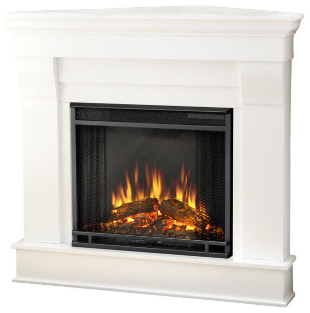 Chateau Corner Electric White Fireplace