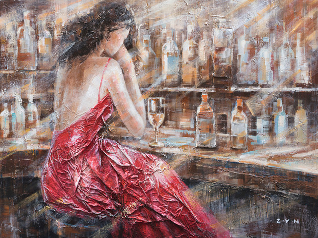 """""""Patience Red Dress"""" Hand Painted Oil Canvas Art"""