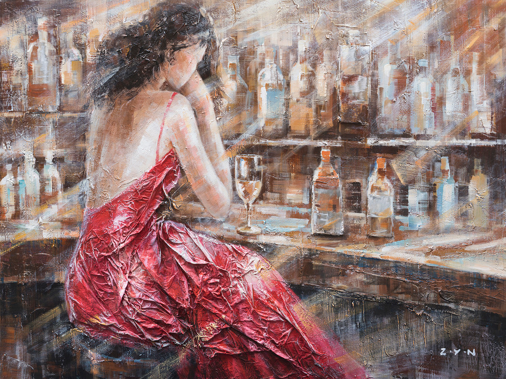 Patience Red Dress Hand Painted Oil Canvas Art