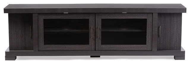 Viveka Dark Brown Wood TV Cabinet With 2 Glass Doors and 2 Doors ...