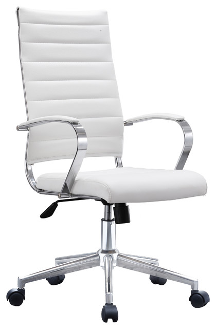 Executive Ergonomic High Back Cushion Seat Office Chair Ribbed Pu Leather White