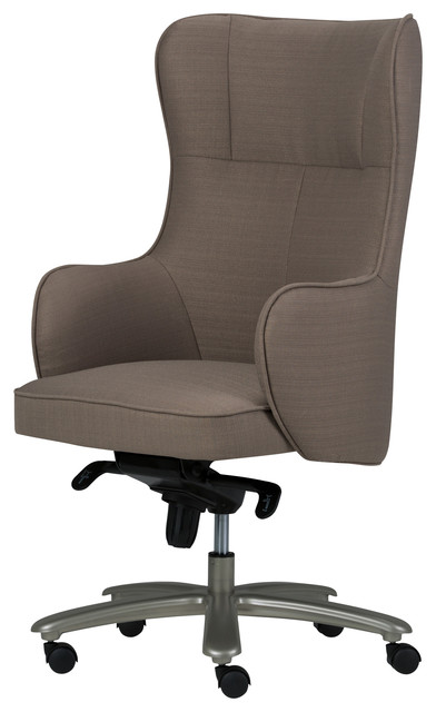 Leeds Wingback Swivel Office Chair Warm Gray Linen Look Fabric