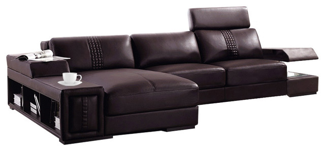 Soflex Chandler Modern Brown Leather Sectional Sofa Left Facing Chaise