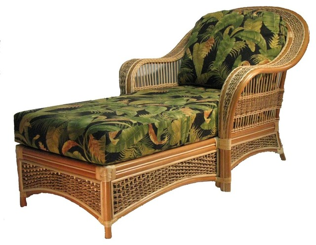 Spice Island Chaise Lounge In Natural, Fruit Punch Fabric.