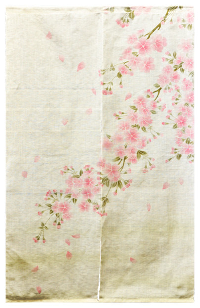 Shop Houzz | T-Trove Asian Decor Cherry Blossom Linen Noren ...
