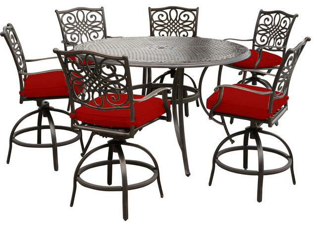 "Traditions 7-Piece High-Dining Set With 6 Swivel Chairs and 56"" Cast-Top Table"