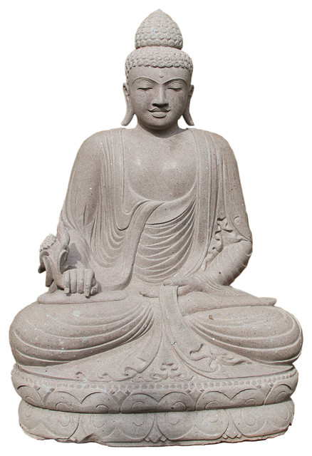 Stone Carved Sitting Buddha Asian Garden Statues And