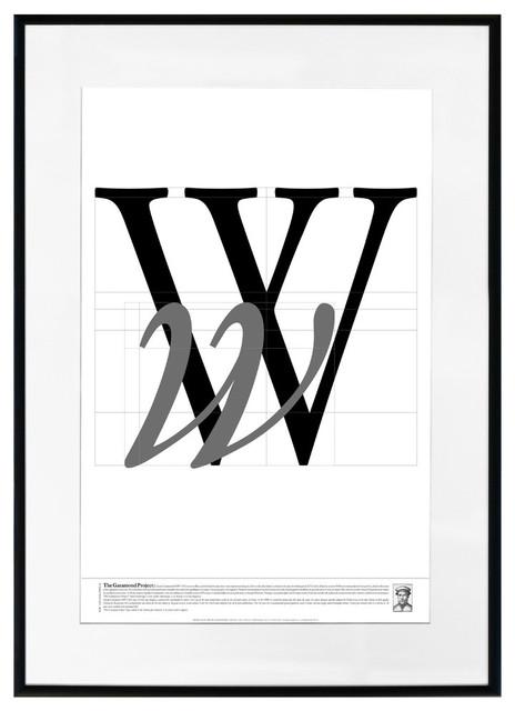 """the Garamond Project - W"" Framed Art Print, 20""x28""."