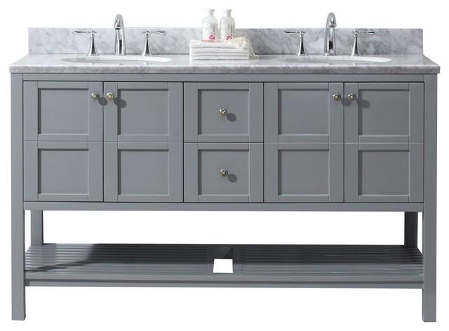 Winterfell 60 Double Bathroom Vanity Gray No Mirror Faucet