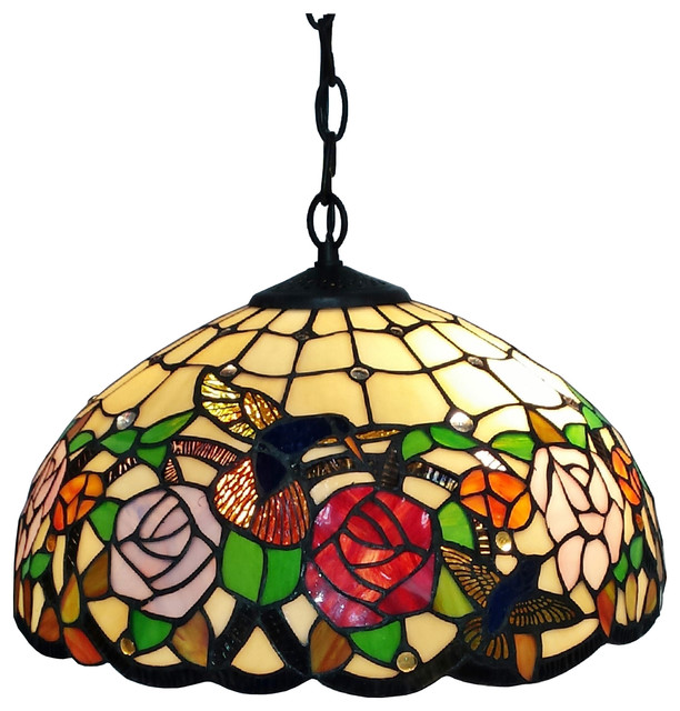 9a30a90157e1 Tiffany Style Hummingbirds Floral Hanging Lamp Wide 16 In - Traditional -  Flush-mount Ceiling Lighting - by AMORA LIGHTING LLC