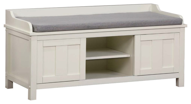 Lakeville Storage Bench, White Transitional Accent And Storage Benches