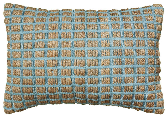 "Kiana Pillow, Blue, 16""x24""."