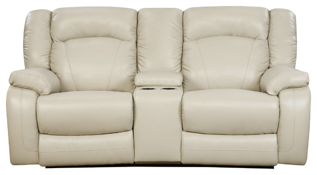 Simmons Upholstery Yahtzee Pearl Double Motion Console Loveseat.