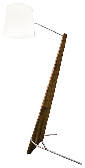 Silva Giant Led Floor Lamp, Oiled Walnut, White Linen