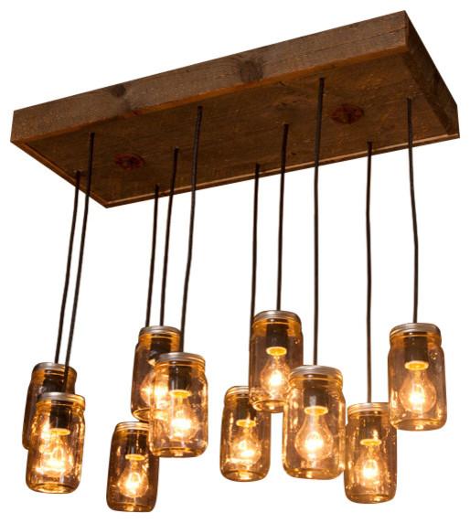 Rustic Industrial Modern Handmade Mason Jar Chandelier Rustic: Mason Jar 10-Light Chandelier With Reclaimed Wood