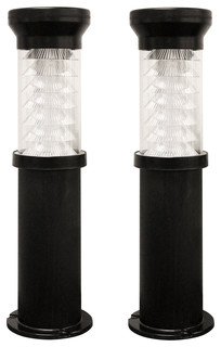 "26"" 9 LED Bollard Solar Light with EZ Anchor Black Clear Ribbed Glass"