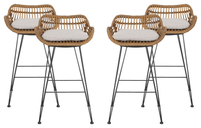 Candance Outdoor Wicker Barstools With