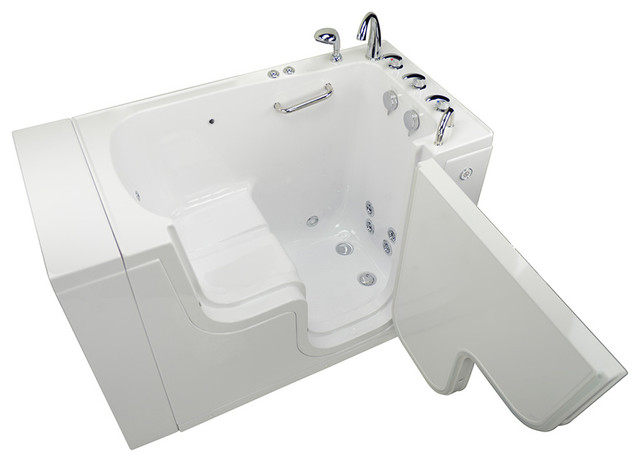Transfer 32 Acrylic Hydro & Microbubble Walk-In Bathtub Right Outward Swing Door.