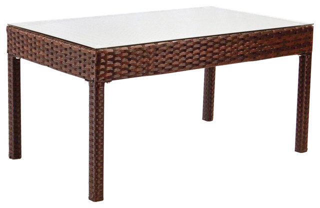 Patio Coffee Table, Rectangular, Dark Brown.