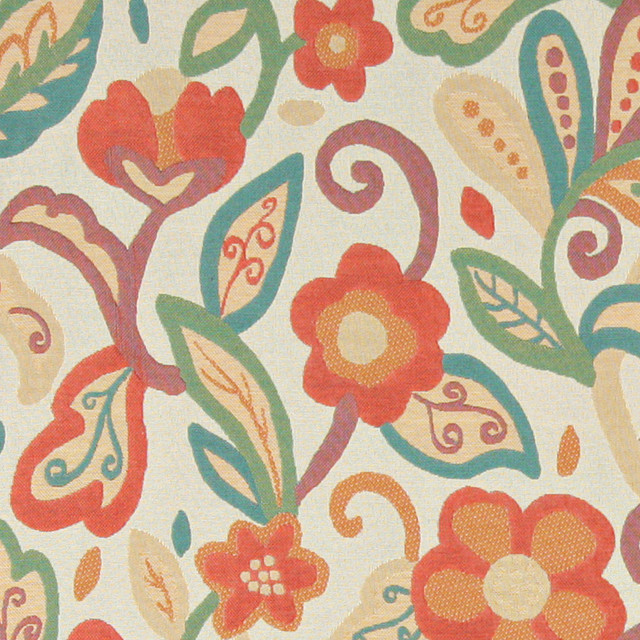 Teal, Green, Orange and Beige, Floral Contemporary Upholstery Fabric By The Yard