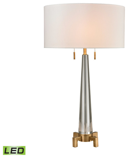 Bedford 2-Light Table Lamp, Clear And Aged Brass.