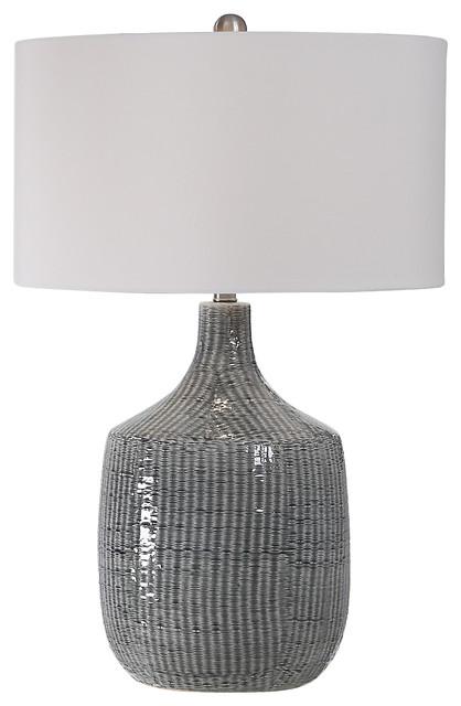 Elegant Modern Stripe Gray Ceramic Table Lamp Graphic Pattern White Silver