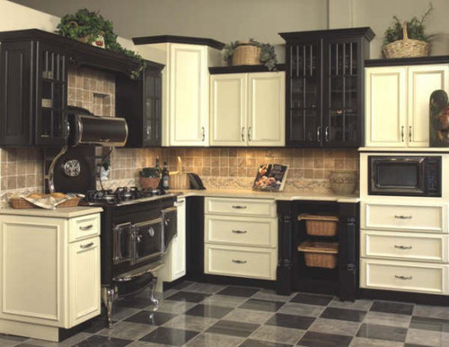 Mixing Black And Cherry Kitchen Cabinets