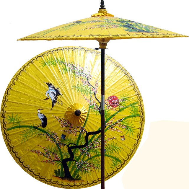 Asian Splendor In Sunburst Yellow Patio Umbrella Outdoor Patio - Outdoor patio umbrellas