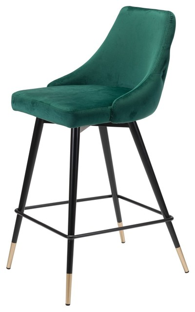 Astounding Modern Counter Chair Stool Green Velvet Stainless Steel Caraccident5 Cool Chair Designs And Ideas Caraccident5Info