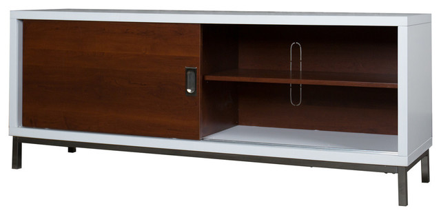 60 Manhattan Tv Console With Full Sliding Doors White Walnut