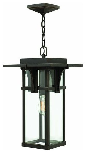 Hinkley Lighting Manhattan 1 Light Outdoor Lantern Pendant In Oil Rubbed Bronze.
