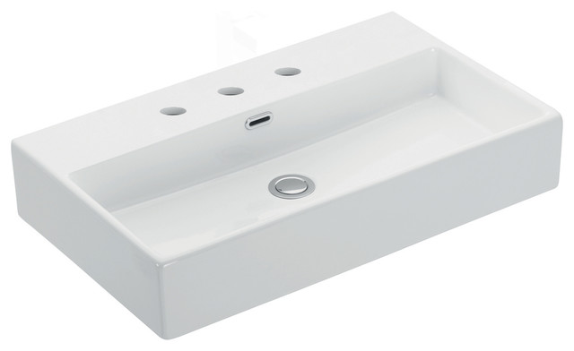 Quattro 70.03 Bathroom Sink, Ceramic White, 3 Faucet Holes