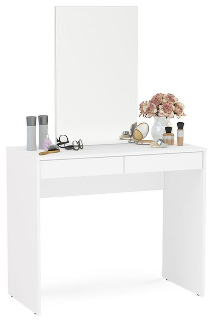 Boahaus Contemporary Vanity Set Dressing Table With Mirror 2 Drawers White Modern Bedroom