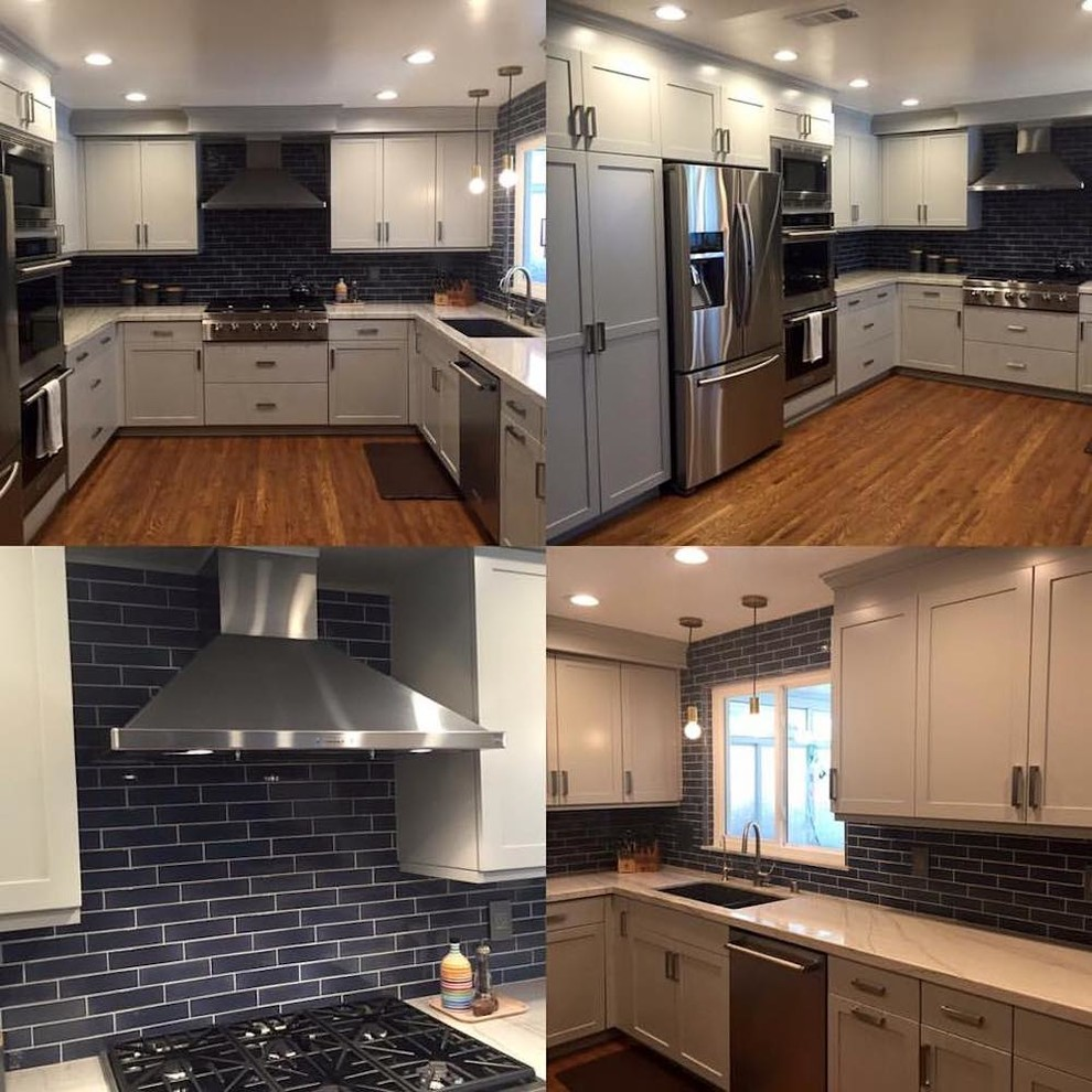 Transitional White Kitchen with Blue Subway Tiles