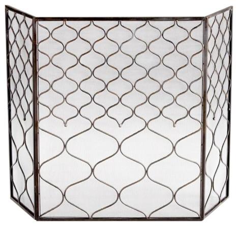 Cyan design blakewell transitional bronze iron fireplace screen fireplace screens houzz - Houzz fireplace screens ...