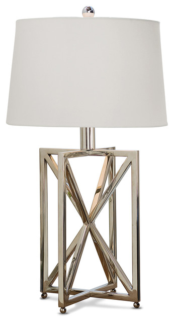 Contemporary Silver Table Lamps: Leonardo Modern Silver Metal Geometric Table Lamp transitional-table-lamps,Lighting