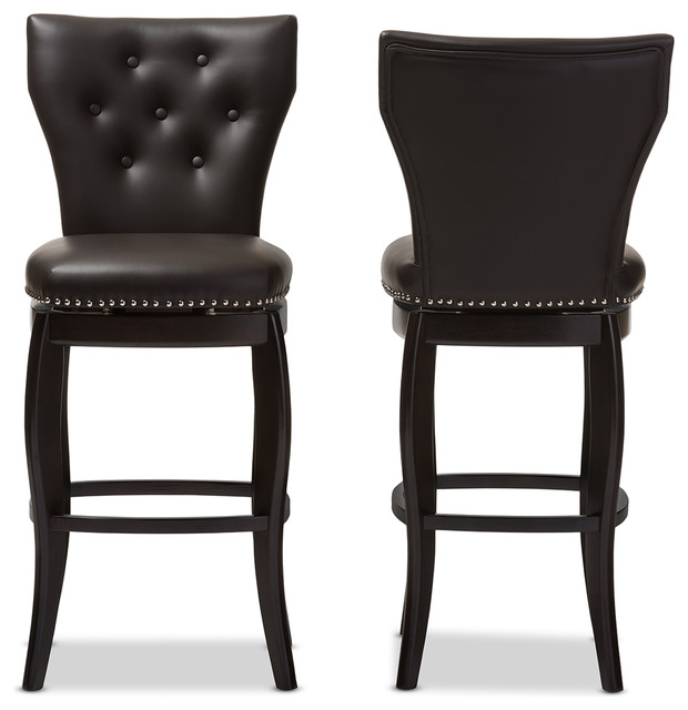 Leonice Faux Leather Button Tufted Swivel Bar Stool Set