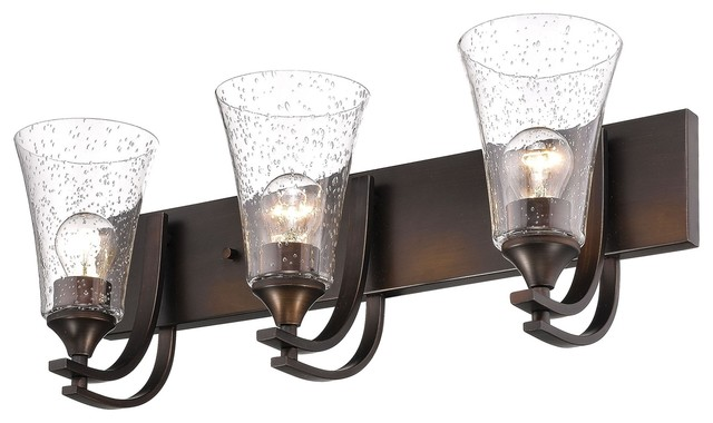 Millennium Lighting Natalie Vanity, Rubbed Bronze, Clear Seeded