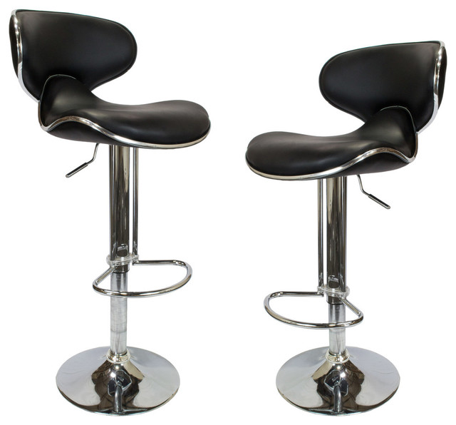 Pleasing Helix Modern Adjustable Swivel Faux Leather Bar Stools Set Of 2 Black Machost Co Dining Chair Design Ideas Machostcouk