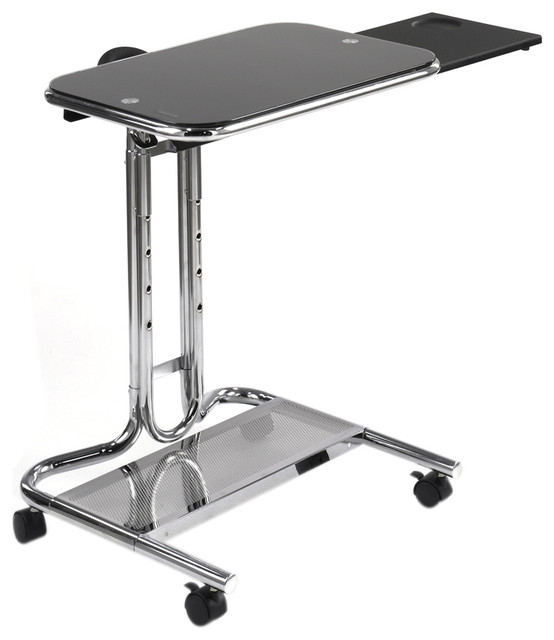 Studio Designs Home Office Laptop Cart With Mouse Pad,chrome, Black.