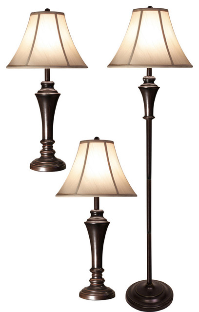 Erica Floor L& and Table L&s 3-Piece Set  sc 1 st  Houzz & Erica Floor Lamp and Table Lamps 3-Piece Set - Traditional - Lamp ...
