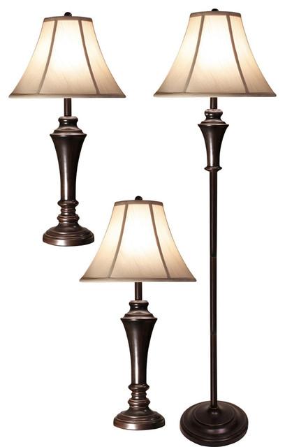Stylecraft Set Of 2 Aged Bronze Steel Table Lamp, One Floor Lamp